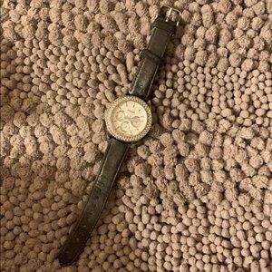 Fossil gray leather silver watch